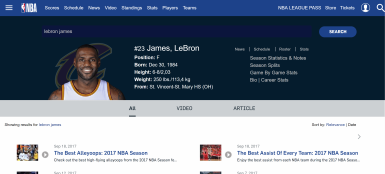 Turner Sports - Player Screen